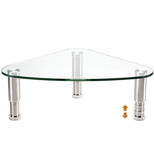 Hemudu Glass Ergonomic Tabletop Riser | Triangle Desktop Universal Corner Stand for Computer Monitor & Laptop
