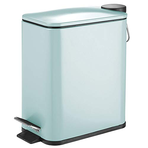 mDesign 5 Liter Rectangular Small Steel Step Trash Can Wastebasket, Garbage Container Bin for Bathroom, Powder Room, Bedroom, Kitchen, Craft Room, Office - Removable Liner Bucket - Mint Green