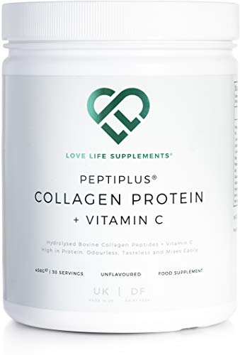 Hydrolysed Bovine Collagen Protein + Vitamin C for Enhanced Collagen Production | Gluten/Dairy Free | 456g / 30 Servings | Unflavoured | Love Life Supplements