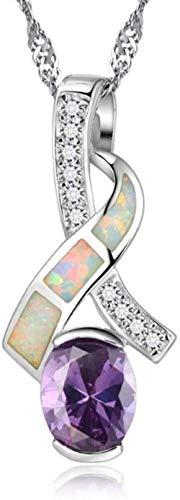 NC83 Collar de cristal de forma geométrica para mujer Collares pendientes de plata de ley 925 Joyería de boda