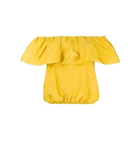 Pinko Blusa Bensone cuello de barco de tafetán color mostaza mod. IG14TJ 7922