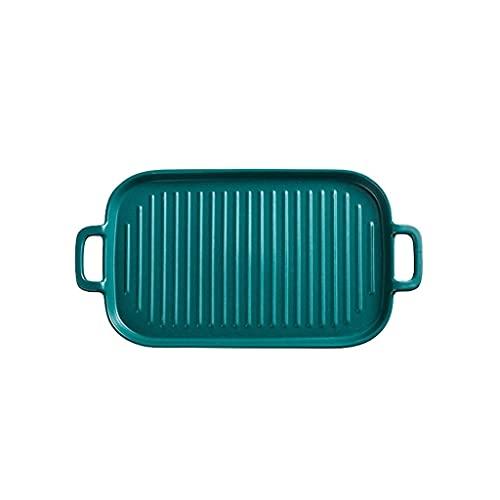 FHISD Platos de cena Bandeja para hornear, placa rectangular, bandeja doble de la placa del oído, plato de desayuno del hogar, vajilla occidental, mesa (juegos de cena)