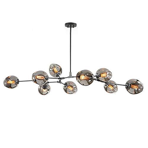 YLLN Cuicna Industrial Iron Ball Sputnik Kronleuchter, 6 Lichter E27 Retro Branch Molecule Pendelleuchte Verstellbare mundgeblasene Glas Lampenschirm Kronleuchter-Schwarz 6-Lichter