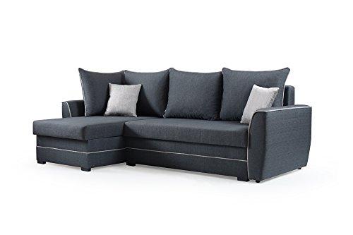 mb-moebel Ecksofa Sofa Eckcouch Couch mit Schlaffunktion und Bettkasten Ottomane L-Form Schlafsofa Bettsofa Polstergarnitur - Roxy (Ecksofa Links,...