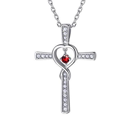 Suplight Colgante Cruz Corazón Plata de Ley 925 Collares Mujeres Infinito con Piedras Natales Redondos Rubí Rojo de Julio Joyerías Religiosas para Cumpleaños
