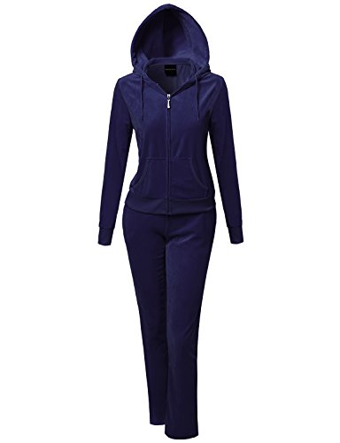 Solid Soft Velour Zip-Up Hoodie Workout Sweatpants Set Navy XL