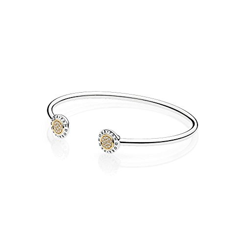 PANDORA Signature Open Bangle Silver & Gold Bracelet 596274CZ1