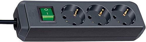 Brennenstuhl Eco-Line, Steckdosenleiste 3-fach (Steckerleiste mit erhöhtem Berührungsschutz, Schalter und 1,5m Kabel) schwarz