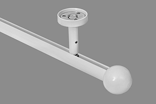 Gordijnroeum Hoogwaardige, ronde 20 mm gordijnroede, gordijnroede, moderne binnenloop, plafondbevestiging met plafonddrager en kogel 1-Lauf- 4,60 m (3x1,53 m + Verbinder) wit