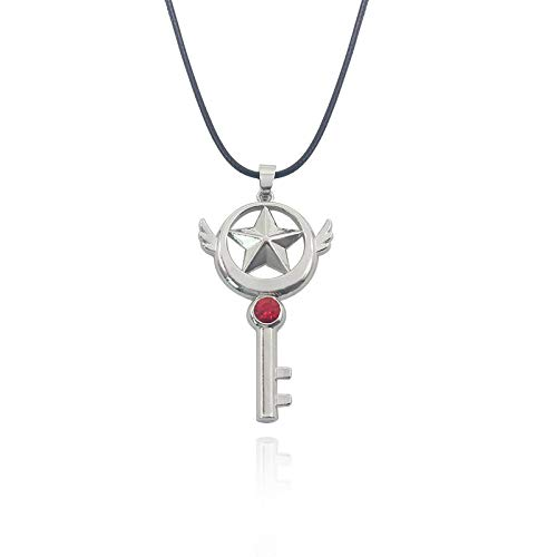 Moda Anime Sailor Moon pentagrama collar de luna dibujos animados cristal alas de ángel collar con colgante de llave estudiante Cosplay joyería diaria