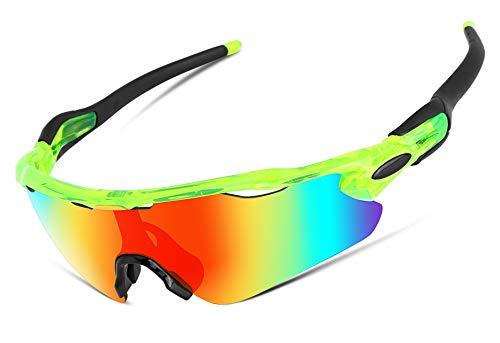 FEISEDY Gafas De Sol Ciclismo Polarizadas para Hombre y Mujer con 5 Lentes Intercambiables para Ciclismo Bicicleta Running Deportes al Aire Libre Protección UV400 B2280