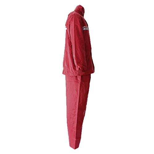 H HILABEE Unisex Regenanzug Regenkombi Zweiteilig Regenbekleidung mit Kapuze für Herren Damen zum Wandern oder Fahrrad Fahren, Wasserdicht und Atmungsaktiv - rot, XXXXL