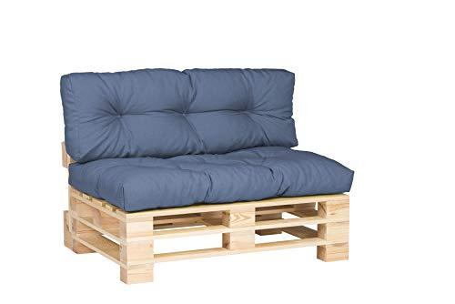 Cojines de Palets Sofá de Patio Cojin para Jardín cojin para Muebles Ideal para jardín Respaldo Asiento Cojin Lateral Set tamańos (Set de 2. Azul)