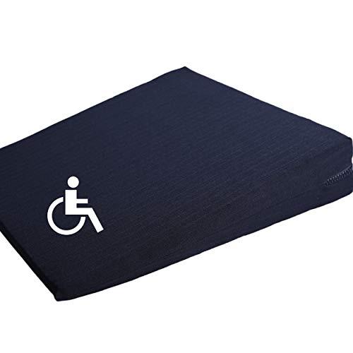 Cojín en cuña para asiento (37 x 37 x 7 cm, funda lavable), color negro
