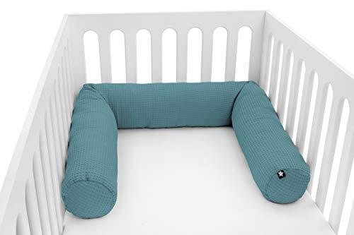 Julius Zöllner Nestchenschlange für Baby- und Kinderbetten, ca. 180 cm, Made in Germany, Waffelpiqué Greenery
