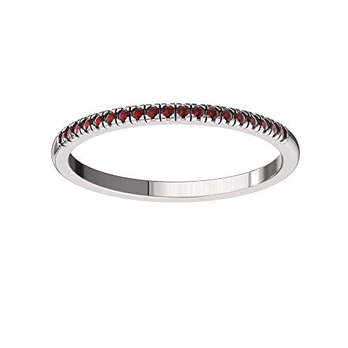Solid Sterling Silver Delicate & Dainty Band Ring with 19 Garnet Gemstones for Women, Size 4.5