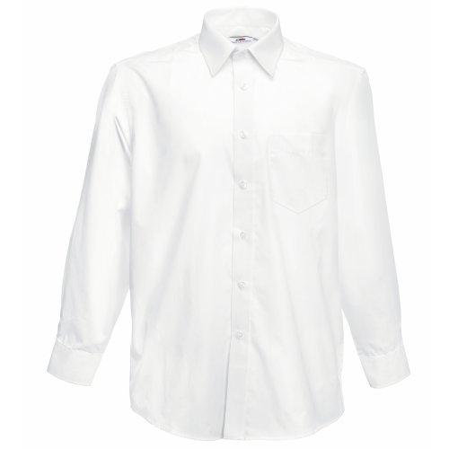 Fruit of the Loom Herren Long Sleeve Poplin Shirt Freizeithemd, Weiß (White), XXX-Large