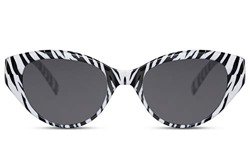 Cheapass Gafas de Sol V Ojo de gato Gafas de sol Negras & Blanco Cebra Marco y Oscuras Lentes Protección UV400 para Mujeres