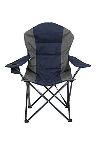 Mountain Warehouse Deluxe Chaise campante de Luxe - Tabouret Pliable, Chaise capitonnée et Facile de pelouse de Stockage, contrat, siège Confortable Bleu Marine Taille Unique