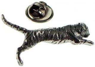 Spilla a forma di spilla in peltro tigre