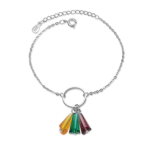 YSJJPQC Bracelets 100% 925 Sterling Silver Trendy Rainbow Crystal Flower Ladies Bracelets Women Promotion Short Choker Charms Gift No Fade (Length : 19.5cm)