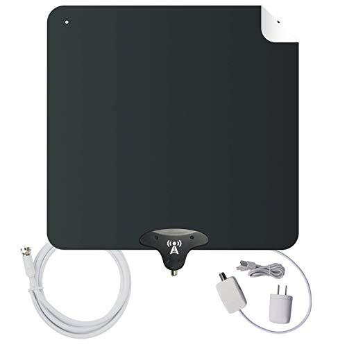 [Upgraded for 2020] NoCable Indoor Amplified TV Antenna | 30-50 Mile Range, 12 Foot Cable, Free TV for Life, Reversible and Ultra-Flat, HD Digital Antenna with Signal Boosting Amplifier. Easy Install