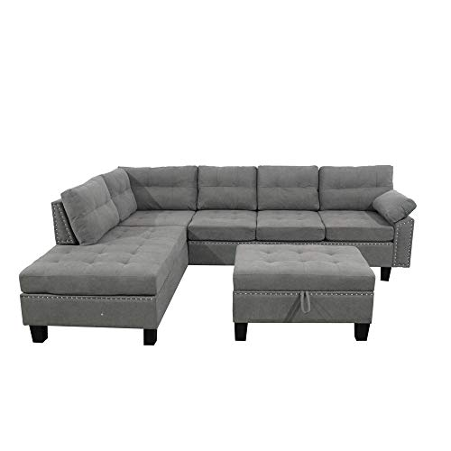 Sectional Sofa Set with Chaise Lounge and Storage Ottoman Nail Head, Harper & Bright Designs Sofa Sectional with Reversible Lounge and Storage Ottoman Sofas Couch for Living Room Ship from USA