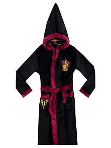 Harry Potter Jungen Gryffindor Bademantel Schwarz 140 cm, 9-10 Jahre