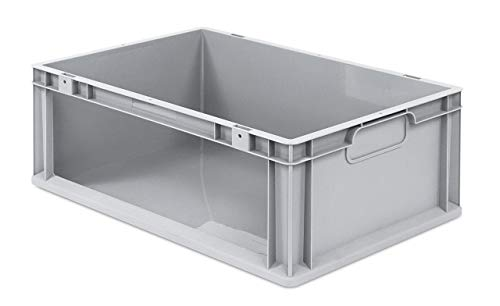 aidB Eurobox NextGen Store Seite offen, 600x400x220 mm, robuste Regalbox mit Entnahmeöffnung, stapelbare Kunststoffkiste, ideal für die Industrie