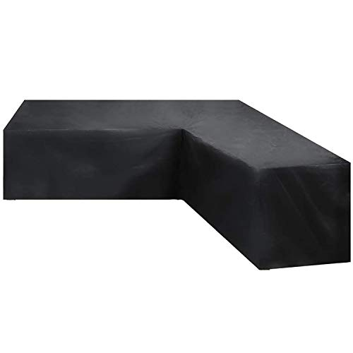 GEBIN Funda para Muebles De Jardín, Cubierta Impermeable En Forma De L/V para Sofá De Esquina, Cubiertas Antipolvo para Uso En Exteriores. (215x215x80x67cm)