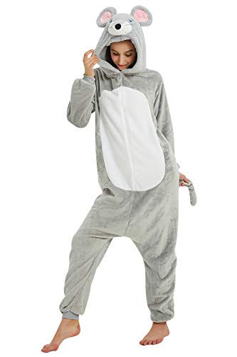 YAOMEI Adulto Unisexo Onesies Kigurumi Pijamas, Mujer Hombres Traje Disfraz Animal Pyjamas, Ropa de Dormir Halloween Cosplay Navidad Animales de Vestuario (L, Ratón)