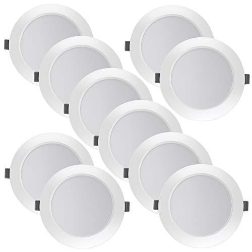 10 X Foco Empotrable LED 10W Techo Blanco Cálido 2800K Eande Luces...