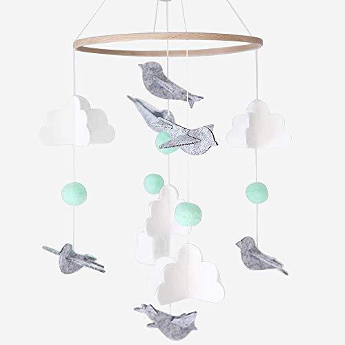 Baby Windspiel Junge, Mobile für Babybett, Mobile Wickeltisch, Bettglocke Windspiel, Home Filz Windspiele mit Kleinen Vögeln, Mobile krippe für Jungen und Mädchen