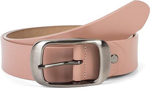 styleBREAKER Unisex Leder Gürtel Unifarben mit glänzender Oberfläche und gebürsteter Schnalle, kürzbar 03010104, Größe:100cm, Farbe:Altrose