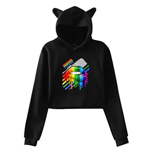 Women's Hoodies Lesbian Rainbow Lips Pride Casual Long Sleeve Crop Top Cat Ear Sweatshirt Pullover