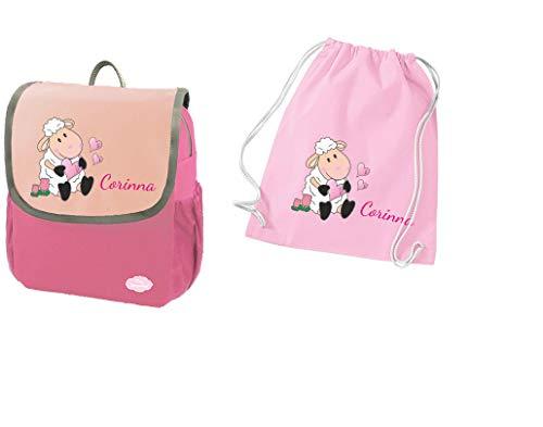 Mein Zwergenland Set 2 Kindergartenrucksack und Turnbeutel Happy Knirps Next mit Name Schaf, 2-teilig, Pink