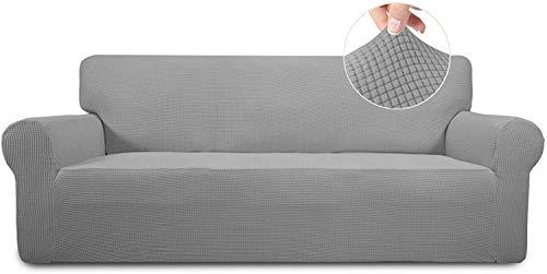 wolketon Stretch Spandex Couchbezug, Sofabezug Elastische, Sofabezüge (3Sitzer) ofahusse, Sesselbezug, in Verschiedene Größe und Farbe (Grau)