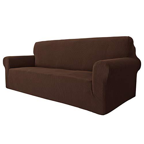 MAXIJIN Super Stretch Couch Bezug für 3-Sitzer Couch, 1-teilige Universal-Sofabezüge Wohnzimmer Jacquard Spandex Möbelschutz Hunde Haustierfreundliche Couch Schonbezug (3 Sitzer, Kaffee)