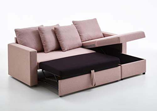 Atlantic Home Collection | Schlafsofa NINE mit Bettkasten | Ecke links oder rechts montierbar | rosa