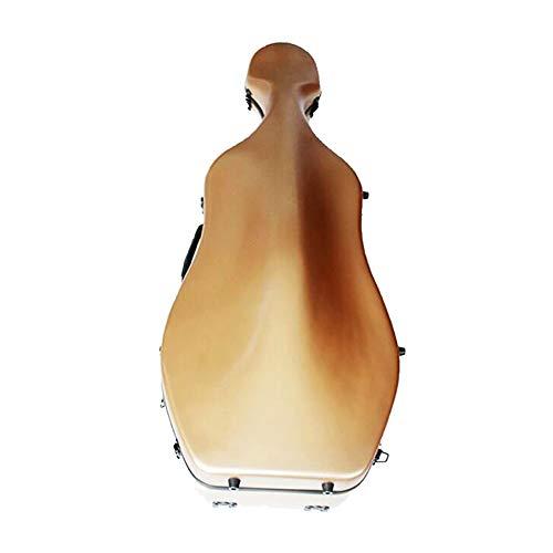 LVSSY-Eccellente Custodia per Violoncello 4/4,in Fibra di Carbonio con Scocca Rigida Leggera E Resistente Colore d'oro Accessori per Strumenti Musicali