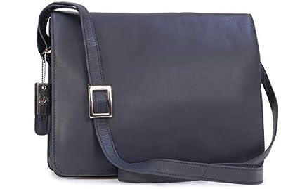Visconti - Cuir Véritable - Sac Bandoulière/Sac porté épaule/Besace/Sac de Travail/Compatible Pour iPad/Tablettes/Kindle - Femme - 754 TESS - Bleu Marine