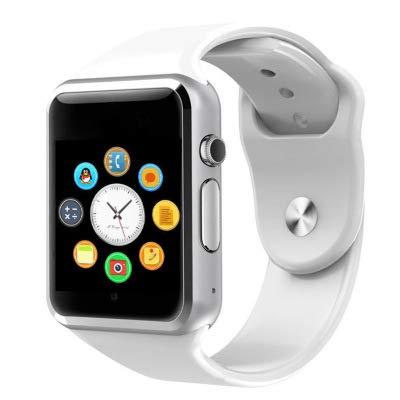 Reloj inteligente PromoTech A1 con Bluetooth 3.0 de 1,54 pulgadas, pantalla táctil GSM/GPRS, tarjeta SIM, para Android e iOS, color blanco