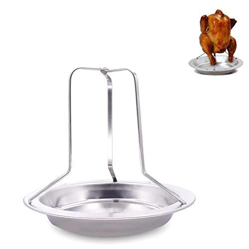 1PC Hähnchenbräter Rack-Folding Edelstahl Vertikal Roaster Hühnerhalter mit Tropfwanne für Ofen oder Grill Nützliche Küchenzubehör (Silber)