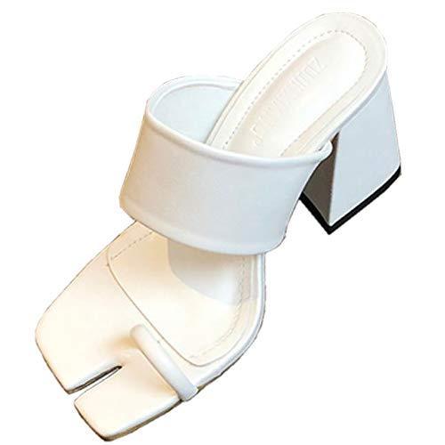 KIMIGAGA Mujer Moda Tacón Ancho Mules Dedo del pie Zapatos Tabi Punta Abierta Sandalias Vestido White Talla 36 Asiática