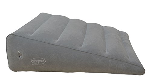 "ObboMed HR-7600 Inflatable Portable Bed Wedge Pillow with Velour Surface for Sleeping, Travel, Trip Vacation, Horizontal Indention Prevent Sliding, 23"" x 22"" x(7.5""~1.5""), Gray"