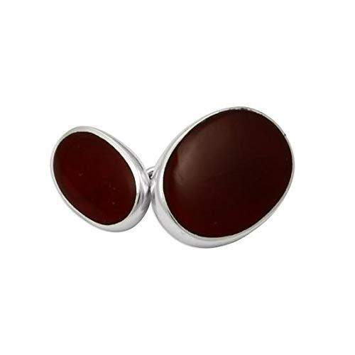 Boutons de Manchette Ovales en Argent 925/1000 et Cornaline - A Chaînette
