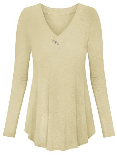 Amoretu Bluse Damen V Ausschnitt Langarmshirt Basic Shirt Lässige Oberteile Tunika Longshirt Apricot XL