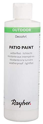 Rayher 38611102  Patio Paint, weiß, Flasche 236 ml, wetterfeste Acrylfarbe für den Außenbereich, lichtecht, Farbe für innen und außen, Outdoor-Farbe