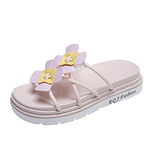 XUNHOU Sandalias Ligeras de Confort en el talón,Zapatillas con Tiras Cruzadas de Flores,Zapatillas de Plataforma de Moda-Violeta_39 EU,Zapatillas de baño Planas de Verano