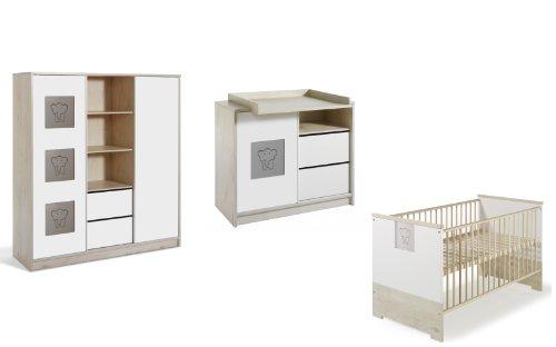 Schardt 11 571 97 02 - Kinderzimmer Eco Slide bestehend aus Kombi-Kinderbett, Umbauseiten, Wickelkommode mit Wickelaufsatz und Kleiderschrank mit 2 Schiebetüren und Mittelregal